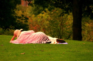 Person resting on grass