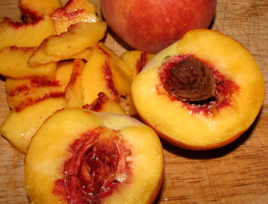 Peaches on a cutting board